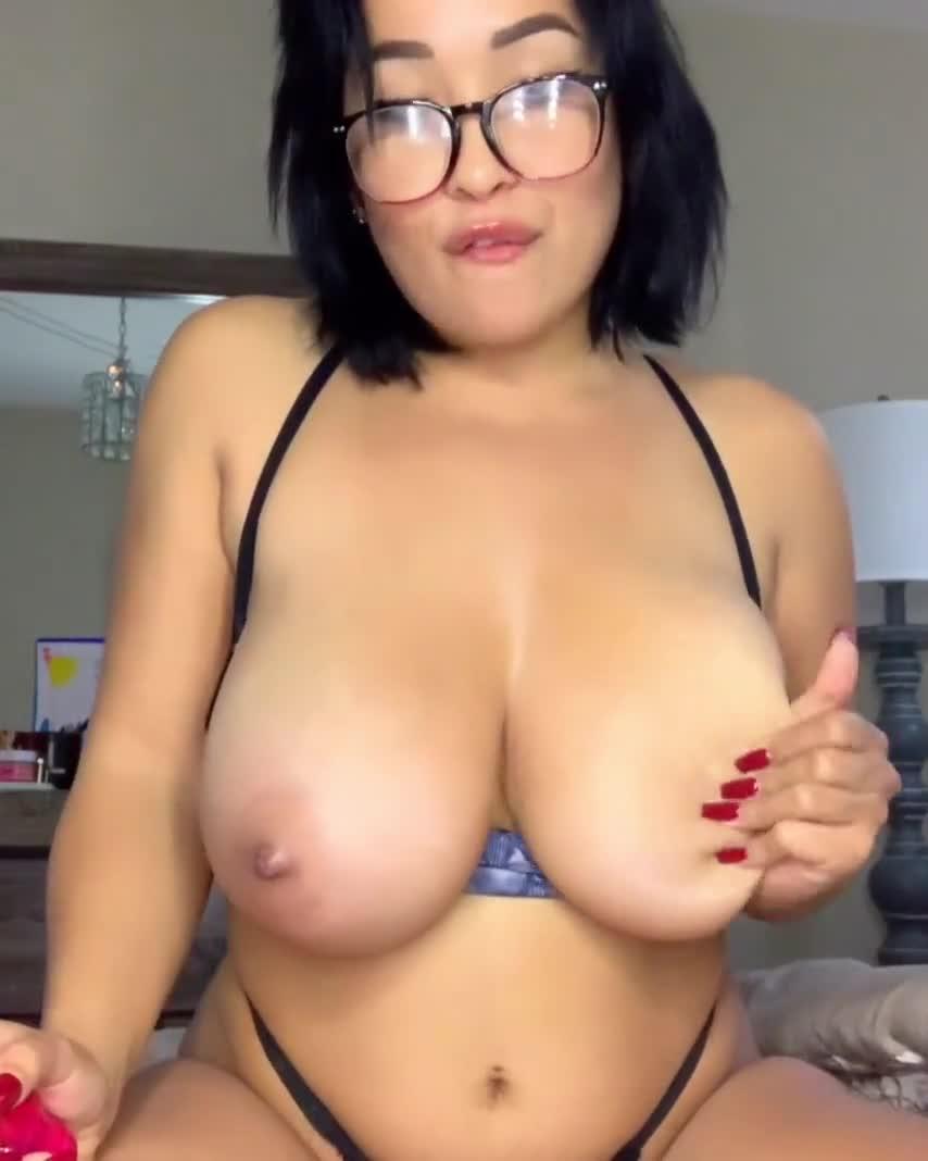 Chubby hottie masturbating with a dildo