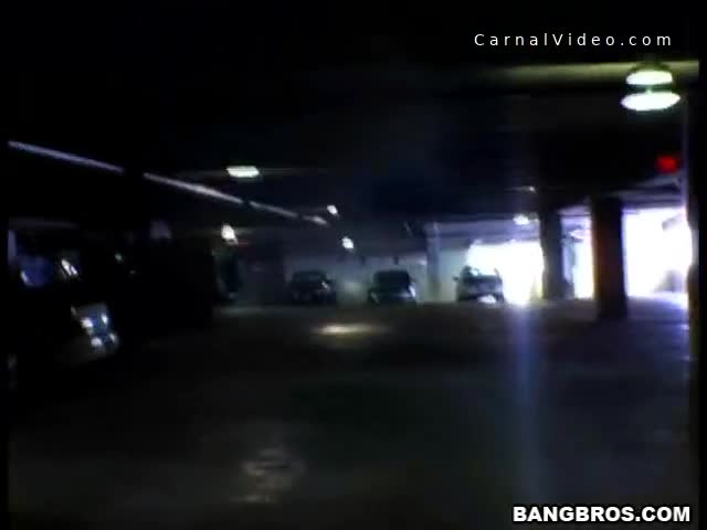Chubby blonde gets fucked in a parking structure