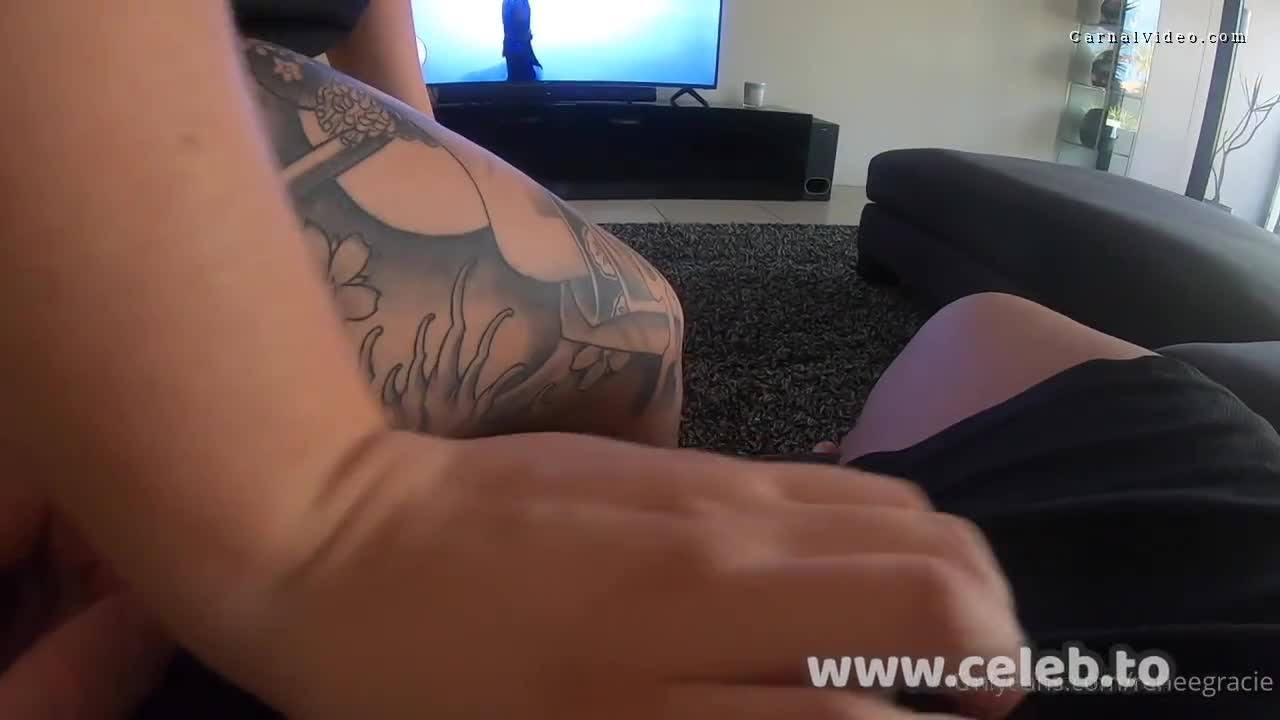 Renee Gracie sucking his boyfriend off while he is playing video games